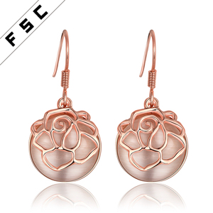 Single Semi-precious Stone Fashion 18k Gold Plated Round Rose Shaped Drop Earring Designs