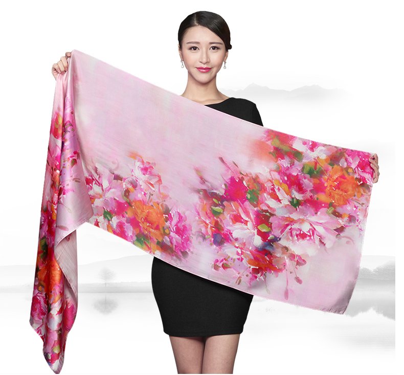 Hangzhou manufacturer Women neckerchief artificial flowers silk scarf pure silk scarves women's pashmina shawl