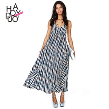 HAODUOYI Women Deep V-Neck Long Maxi Dress Straps Halter Print Sun Dresses For Wholesale