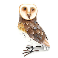 Realistic Charming Painted Owl Metal Outdoor