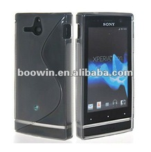 Grey S-line Gel silicon Case Rubber Skin Tpu Cover for sony ST25i Xperia U