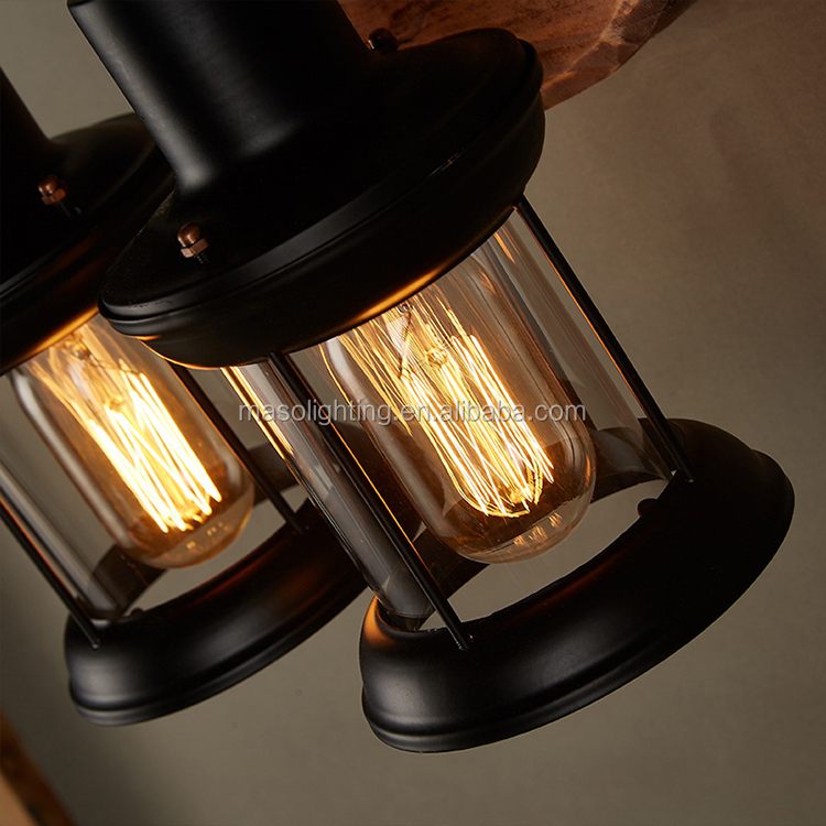 Indoor LED lighting source vintage wall lamp for hotel decor wood craft lamp fixture two lamp holders
