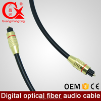 factory wholesale super quality OD6.0mm 1.8m gold plated fiber audio cable