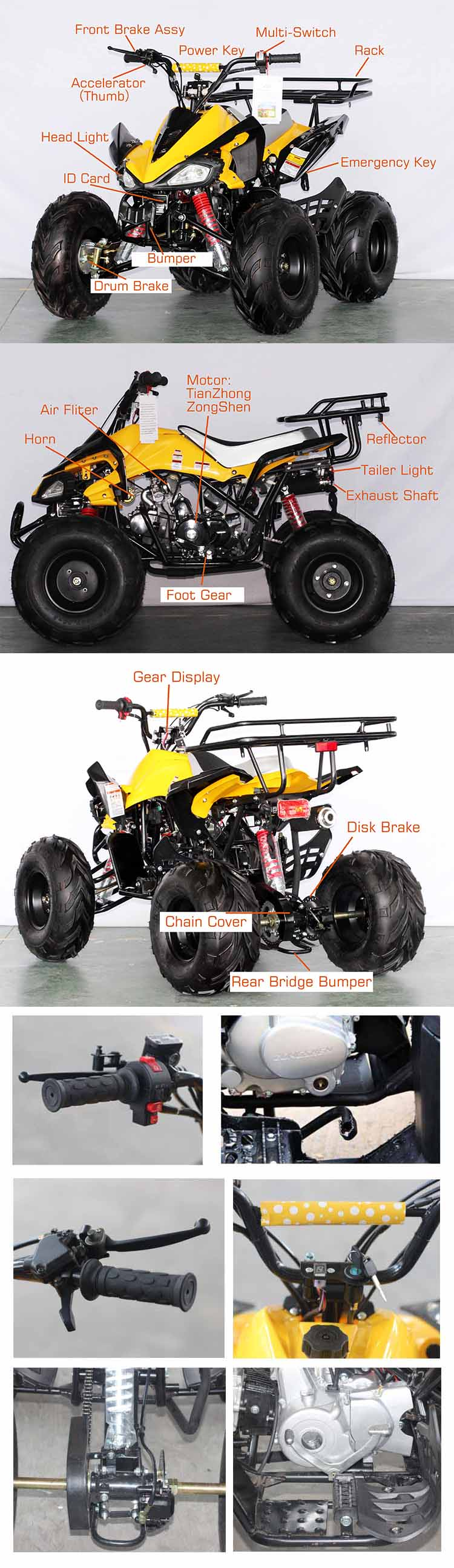 Cheap 4 Strok Air Cooled Mini ATV 110-125CC brighting BIKE Tianhong Motor