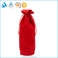 Flannel cotton canvas wine bag, cotton drawstring bag for bottle packaging