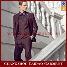 Wine Color Quality Mens 3 Piece Woolen Tuxedo Suits For Wedding