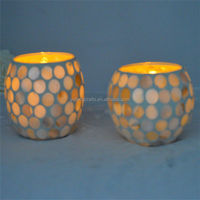 hand made glass cup shell mosaic candle holder