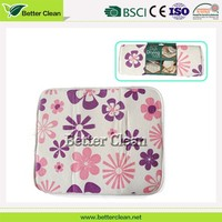 Flowers printed pattern dish or coffee cup microfiber table mat