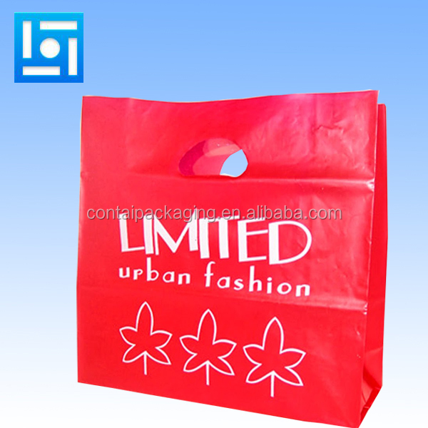 Custom design bio recyclable shopping / promotion / retail plastic tote bag with handle