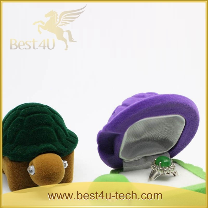 China Supplier Wholesale Turtle Velvet Ring Case Animal Shaped Jewelry Boxes