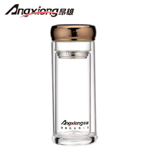 340ml borosilicate glass water bottles for drink double walled keeping hot