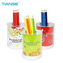 TIANSE Plastic Pen Pencil Pot Cup Holder Desk Container Organizer