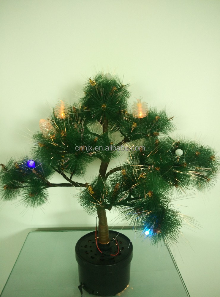 Plasic Pinecone Decoration Christmas LED Tree , Mini 30cm Table Xmas Tree For Sale