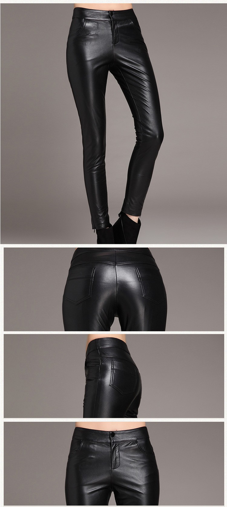 YEEL OEM outsourcing ventilate high waist tight pencil feet women leather pants