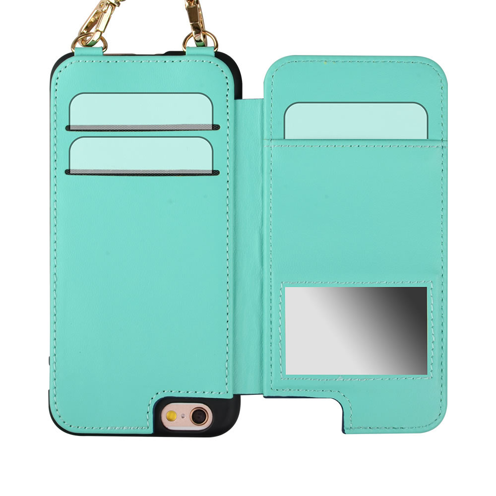 C&T Luxury PU Leather Purse Case with Magnet Clasp Shoulder Strap for iPhone 6 4.7""