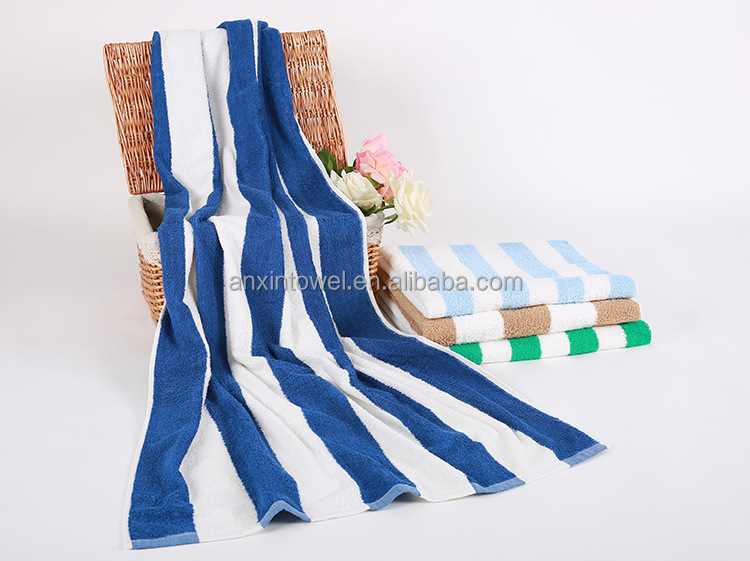 EAswet Blue and white stripe 100%cotton beach towel pool towel wholesale