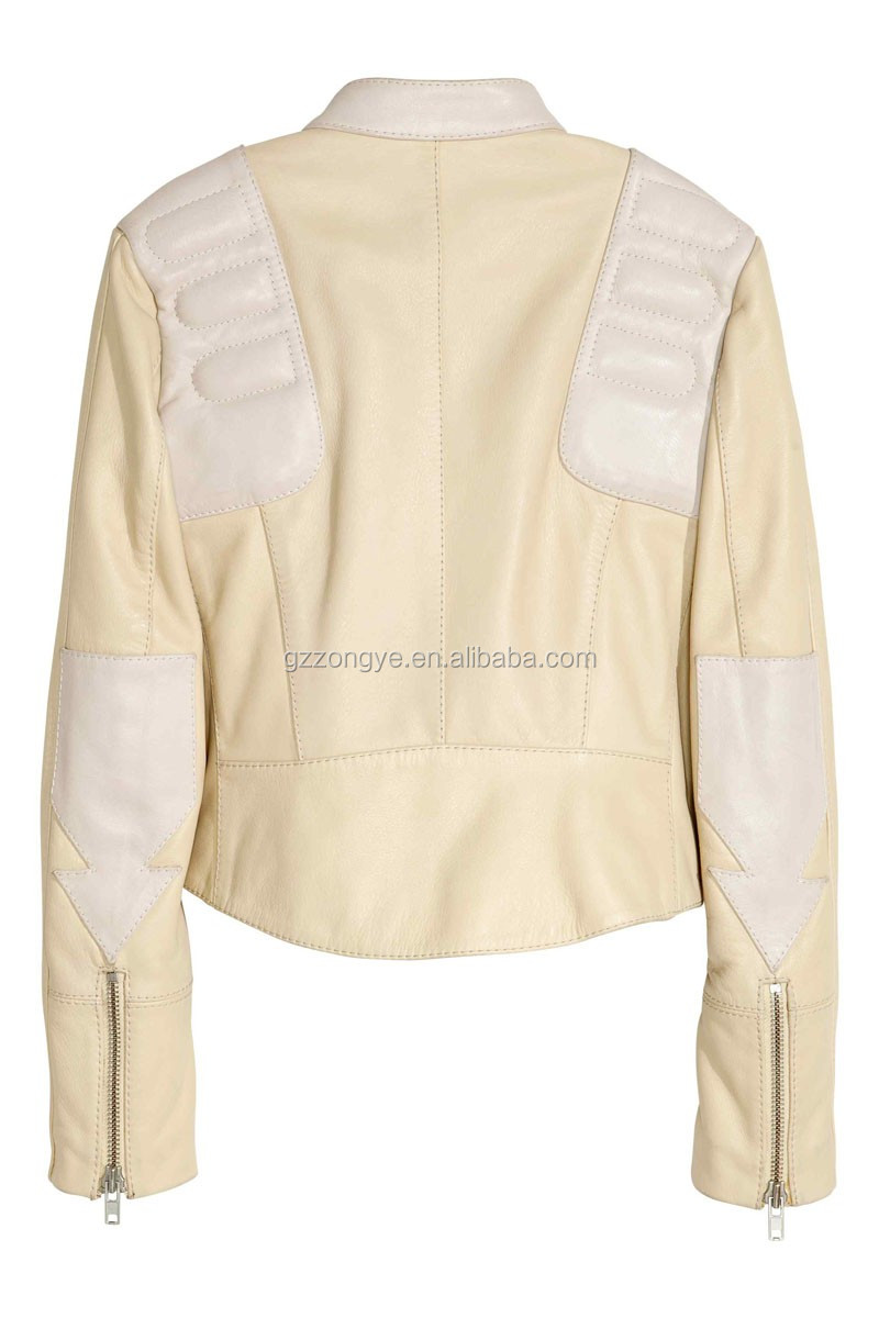 White color genuine leather jackets women 2016