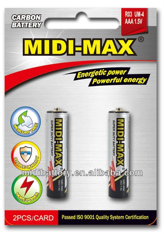 Heavy capacity zinc-carbon AAA R03 um-4 dry cell battery 1.5V