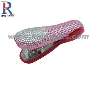 High quality Stainless steel metal stapler hand stapler with rhinestone crystal