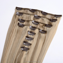 wholesale 100% 9a straight virgin peruvian clip in hair extension Blonde clip in human hair extension