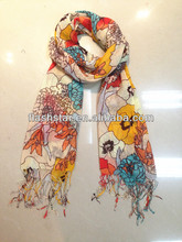 100%polyester lady's choice fashionable floral printed scarf/big flower pattern print scarf