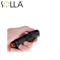 Free Shipping USA EU Hot Mini Q5 LED Flashlight 7W 300LM Torch Adjustable Focus Zoomable FlashLight 14500 Lamp