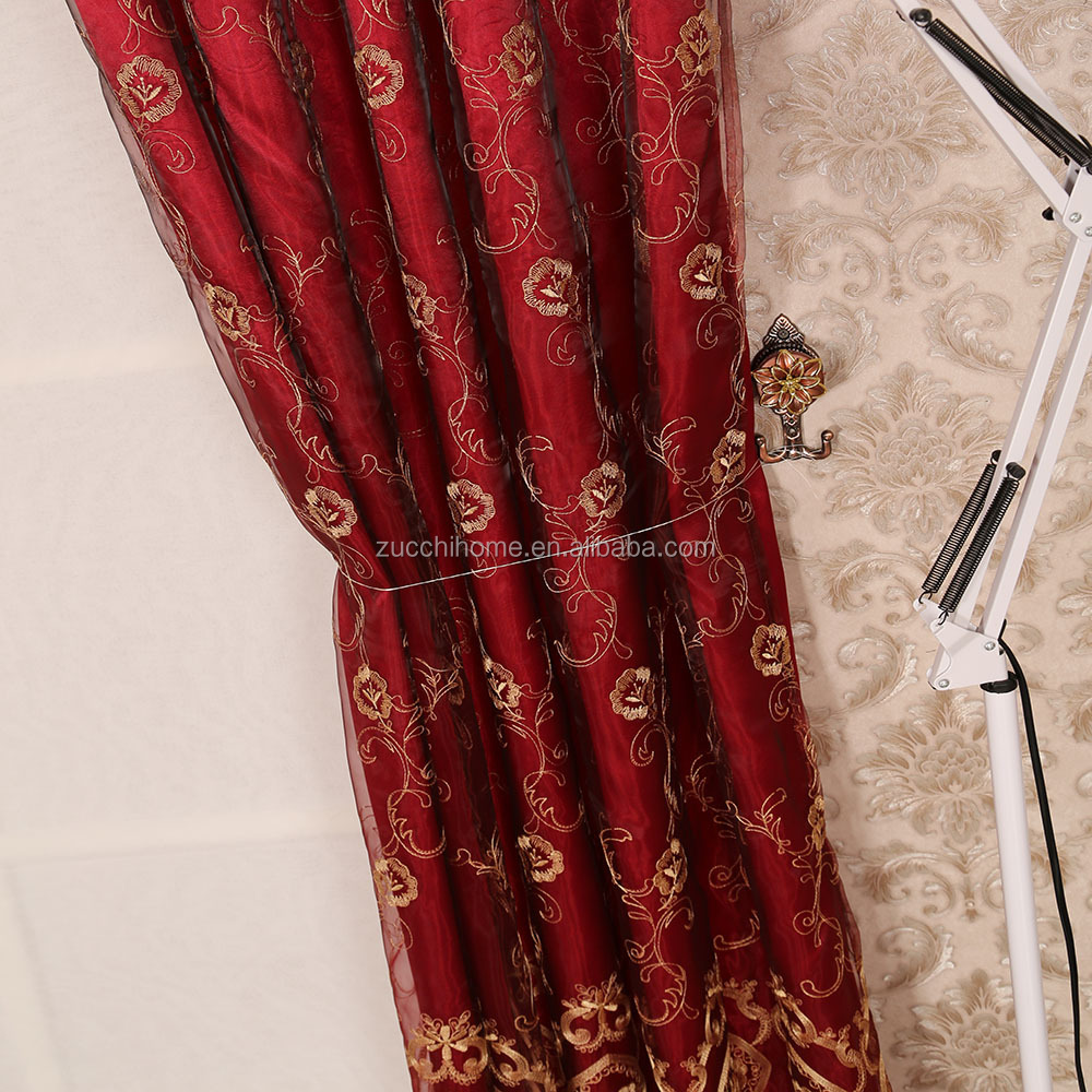 100 polyester organza embroidery sheer curtain fabric,home textile, decoration, upholstery