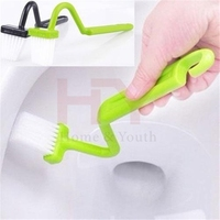 New Portable Toilet Brush Scrubber V-type Cleaner Clean Brush Bent Bowl Handle Random Color