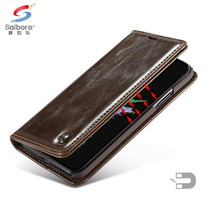 Luxury waterproof brown flip folding wallet pu leather cover case for Samsung Galaxy J7 Pro leather case with card holder