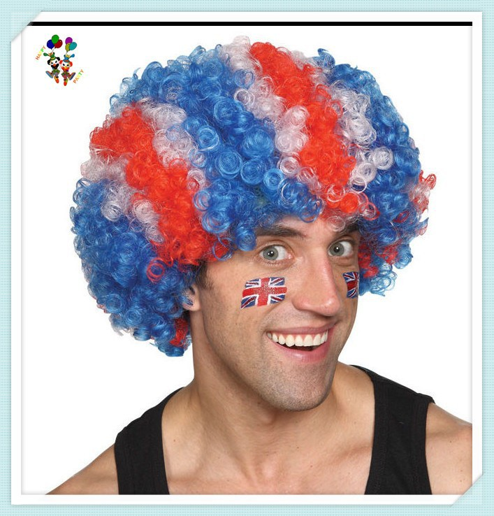 England Patriotic Red White Blue Synthetic Cheap Sports Fan Afro Wigs HPC-0060