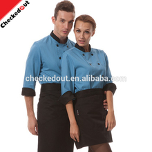 Hot sale restaurant kitchen cooking uniform coats polyester cotton long sleeves unisex chef suits blue clothes for waiters
