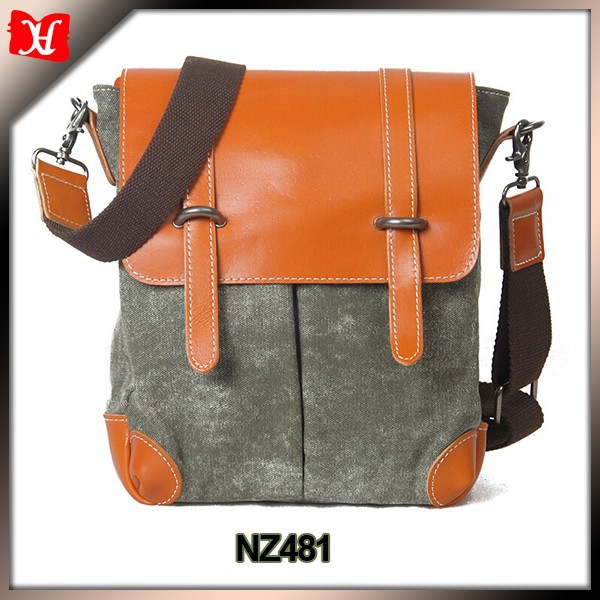 Gray canvas casual messenger bags for men crossbody purse mens satchel messenger bag