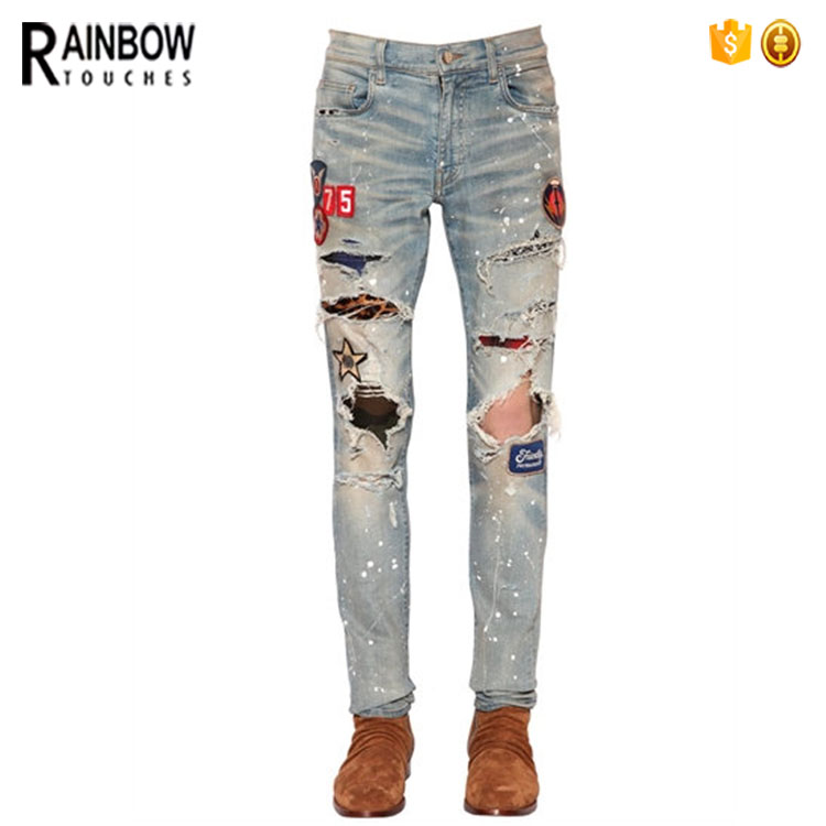 2017 Casual Slim-Fit Vintage Stretch Cotton Ripped Embroidery Women Jeans
