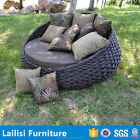Waterproof outdoor daybed covers rattan hanging bed with cushion