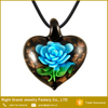 Customized Murano Gold Foil Lampwork Glass Heart Shaped Pendant Necklace