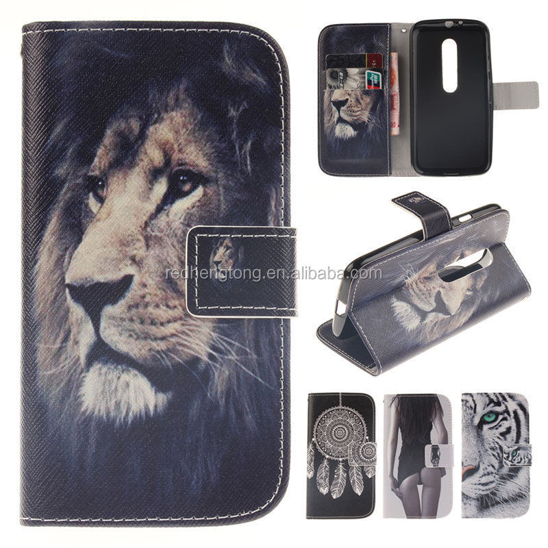 Wholesale Custom PU Leather Printing Wallet Case Cover for Moto G3