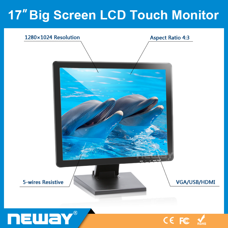 17 Inch 12V Big TFT LCD Touch Screen VGA Monitor with VGA Input