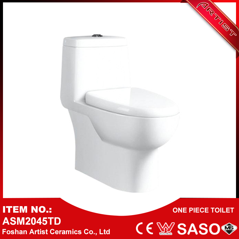 Custom Logo Sanitary Ware P-Trap Two Holes Flushing One Piece Toilet