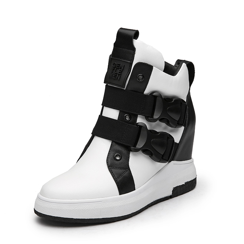 2017 Autumn Winter White Black Ankle Boots Height Increasing Genuine Leather Women Sneakers Ladies Sport Shoes