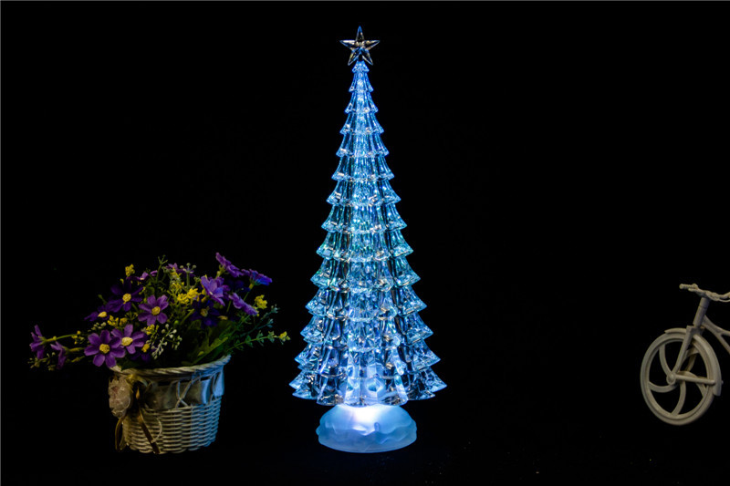 new design tower shape clear acrylic LED shining Christmas decorations with high qaulity crystal tree
