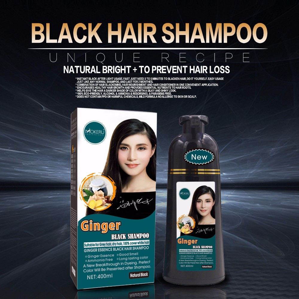 ISO MSDS Private label 5 minute hair dye wholesale fast magic black ginger shampoo black hair dye shampoo for gray hair
