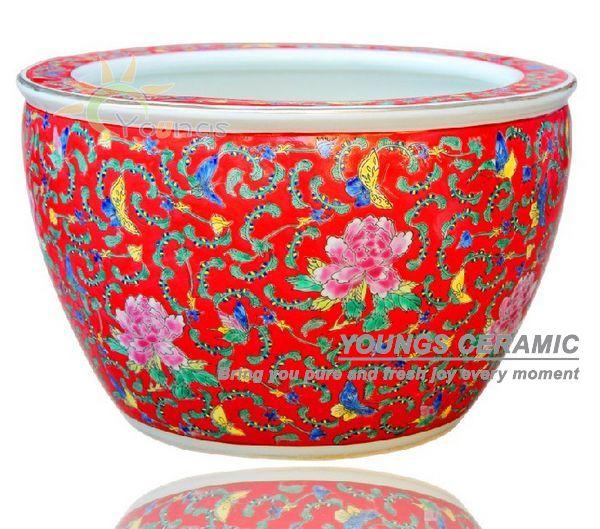 verkauf gro e chinese famille rose keramik anlage blument pfe f r innen und baum pflanzen. Black Bedroom Furniture Sets. Home Design Ideas