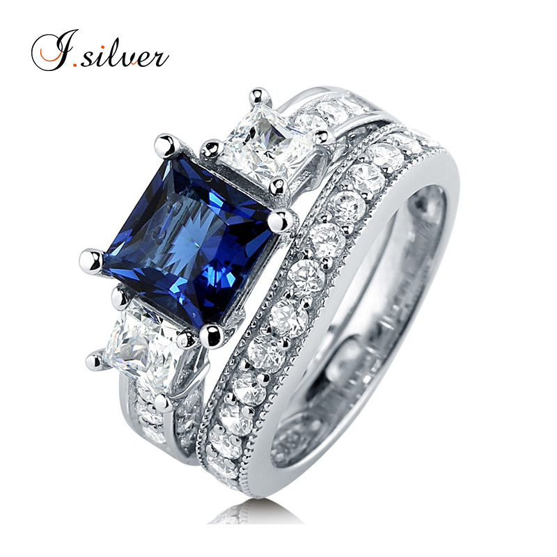 925 sterling silver white gold plated Princess Blue diamond Sapphire CZ 3 Stone <strong>ring</strong> R500339