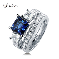 925 sterling silver white gold plated Princess Blue diamond Sapphire CZ 3 Stone ring sets R500339