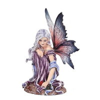 Fairyland Purple Winged Fairy with Red Rose Statue Figurine