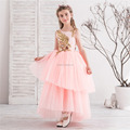 Latest Children Frocks Lace Long A Line Birthday Pattern Kids Party Dress Flower Girl Dresses f012