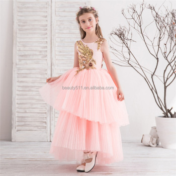 Latest Children Frocks Lace Long A Line Birthday Pattern Kids Party Dress Flower Girl Dresses