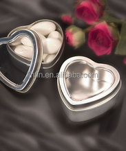 Small Candy chocolate heart shaped window gift storage tin box for wedding