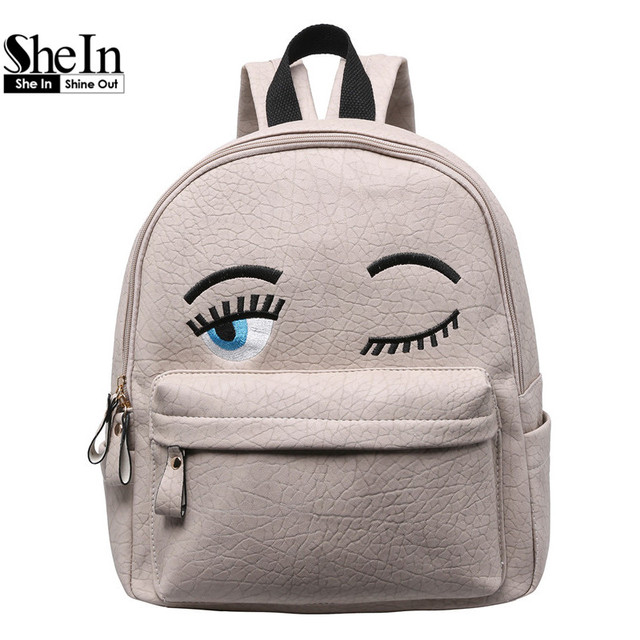 SheIn Hot Sale Women Fashion 2016 New Arrival Cheap Online Shops Bags Eyes Pattern PU Cute Backpack