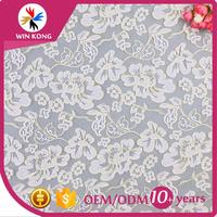 "(Guangzhou Factory)White Bridal Mesh/ Embroidery Beaded Lace Fabric/Embroidered White Floral All Over Lace Fabric 36"" Wide"